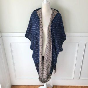 Free People Hooded Fringed Wrap Sweater